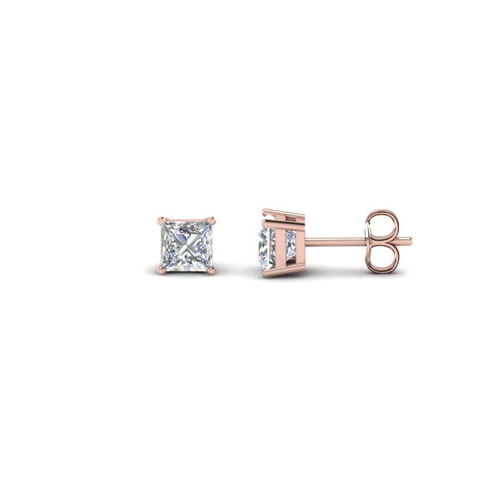 0.50 Carat Princess Cut Diamond Stud Earring In 14K Rose Gold