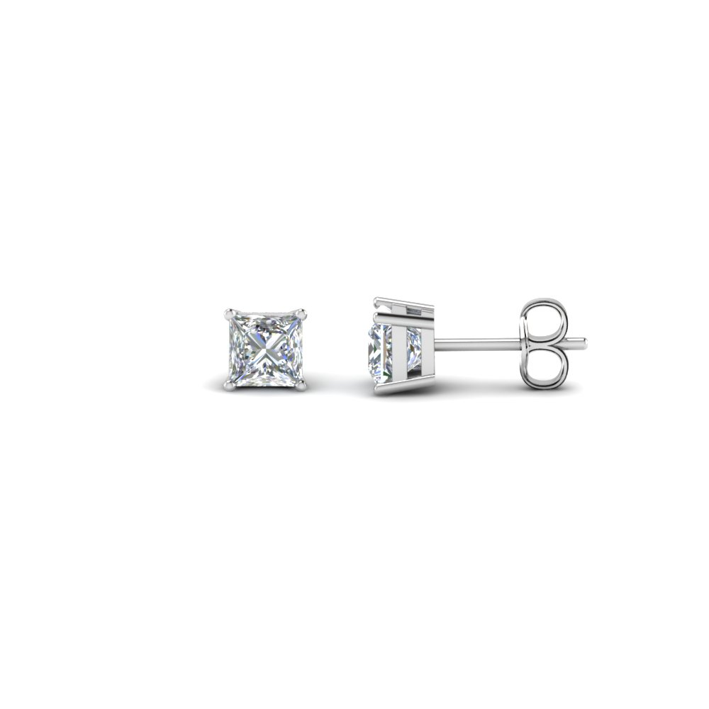 0.50 Ct. Princess Cut Diamond Stud Earring