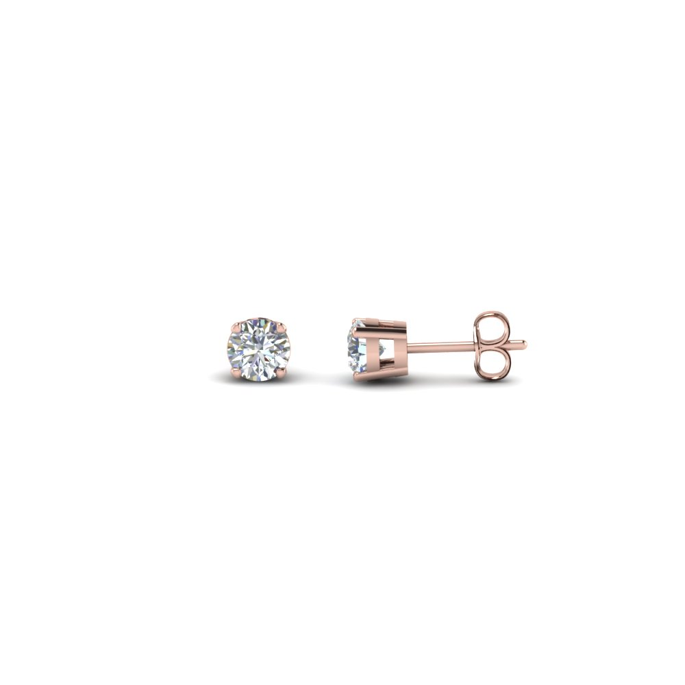 0.50 Carat Round Diamond Stud Earring In 14K Rose Gold