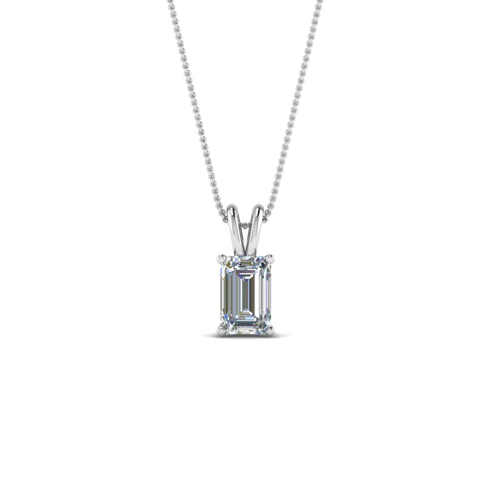necklace pendant ct jewelry emerald cut in solitaire gold nl platinum wg white