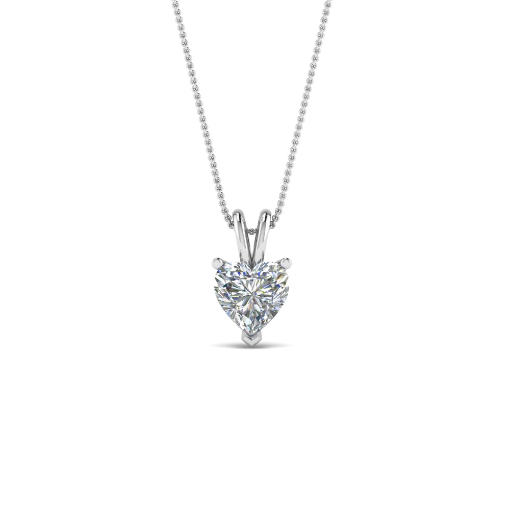 0.50 ct heart solitaire pendant in FDPD8469HT0.50CTANGLE2 NL WG