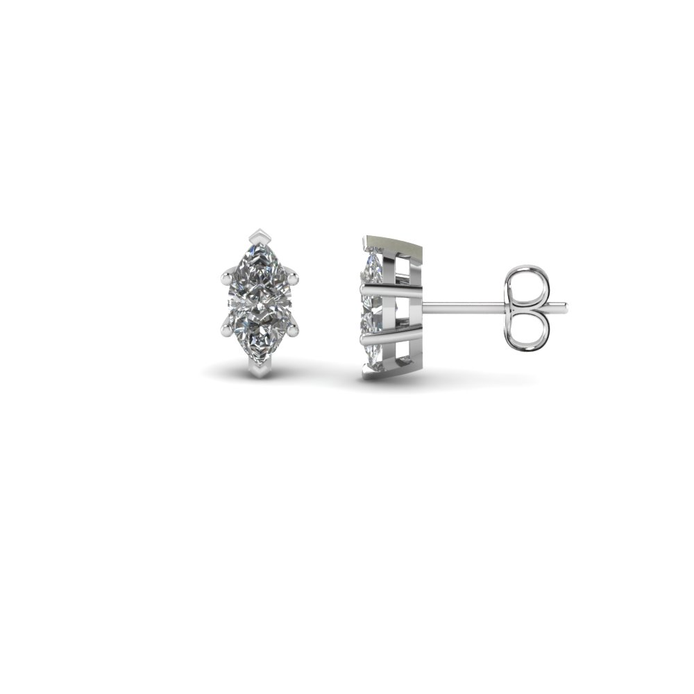 18k Yellow Gold 0 50 Ct Stud Earring Platinum Marquise Cut Carat