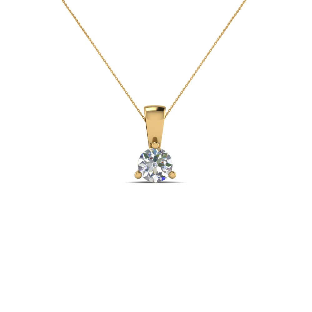 0.50 ct single round diamond pendant in FDPD918RO NL YG