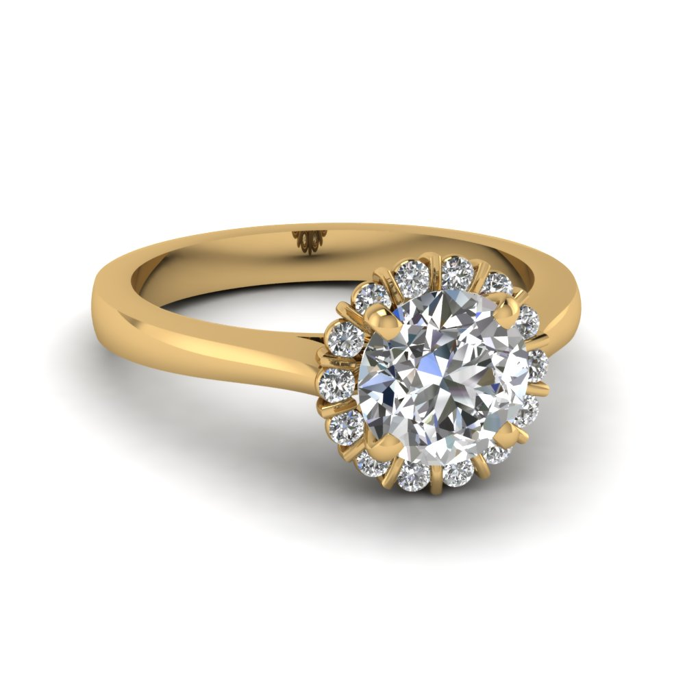 050 Ct Diamond Flower Engagement Ring In 14k Yellow Gold
