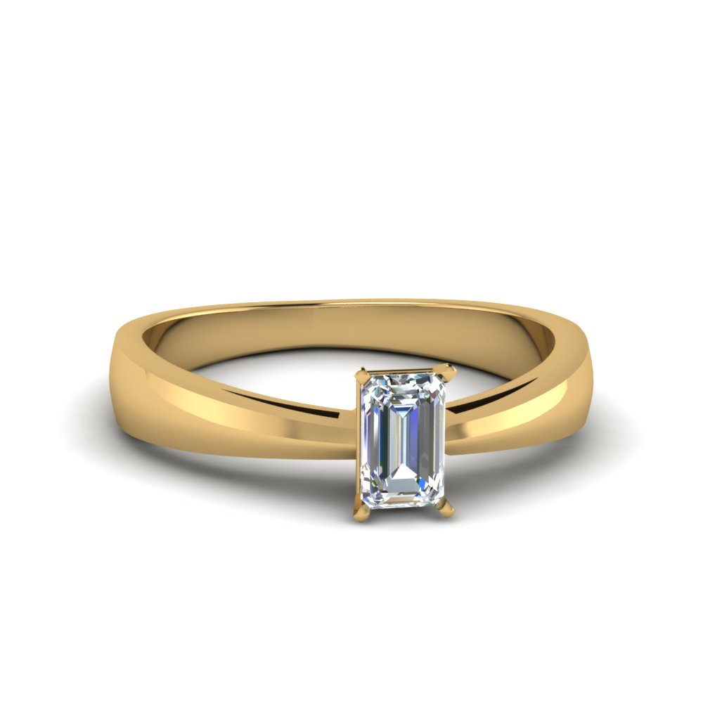 Emerald Cut Solitaire Tapered Ring