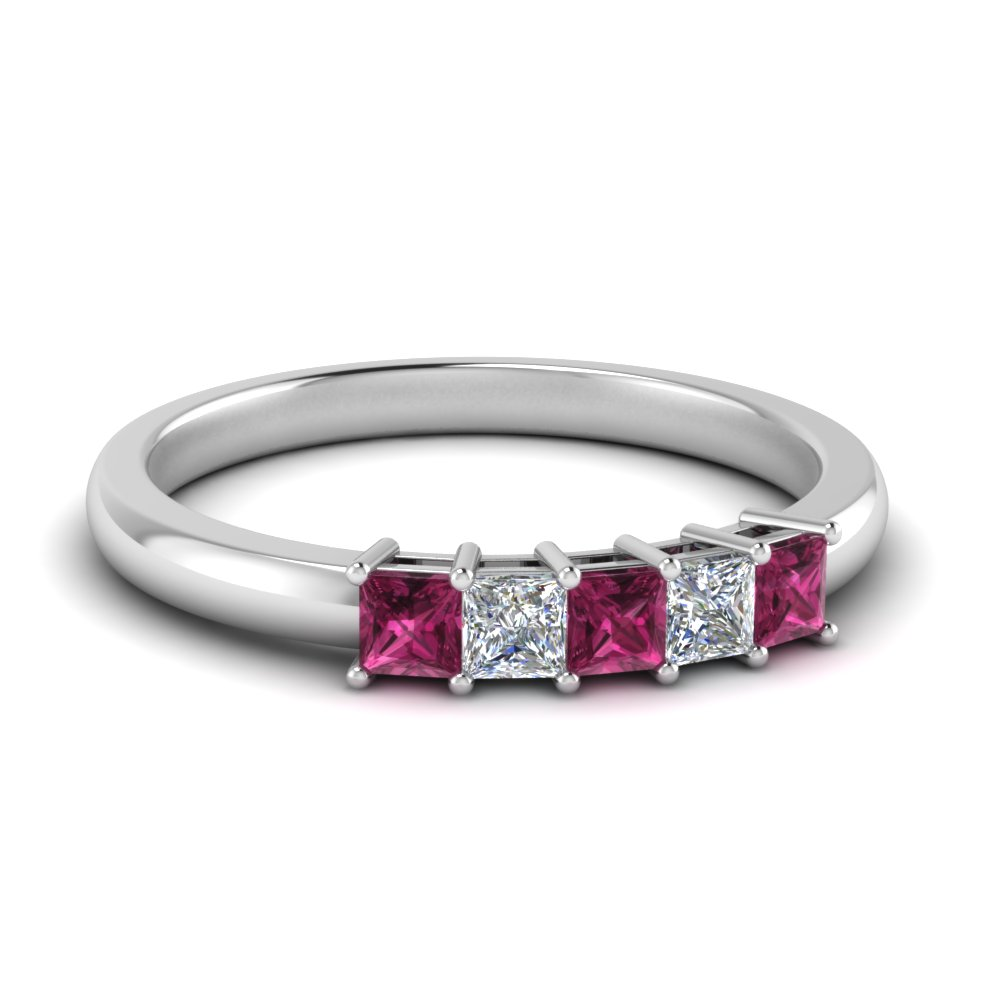 0.50-ct.-princess-cut-5-stone-anniversary-band-with-pink-sapphire-in-FD8008PRB 0.50CTGSADRPI-NL-WG