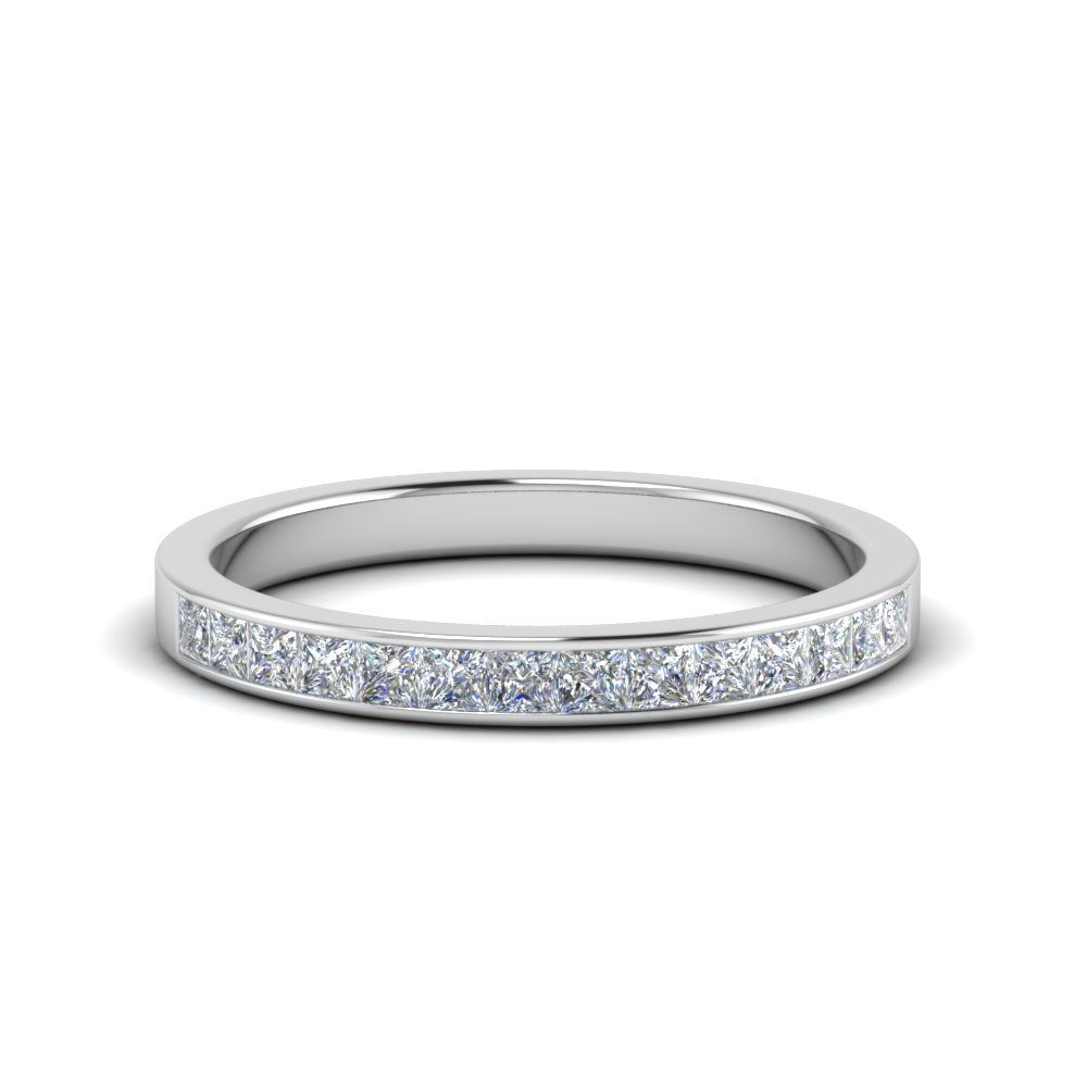 0.50 ct. princess cut diamond channel wedding ring for her in FD8382 0.50CTBNL WG