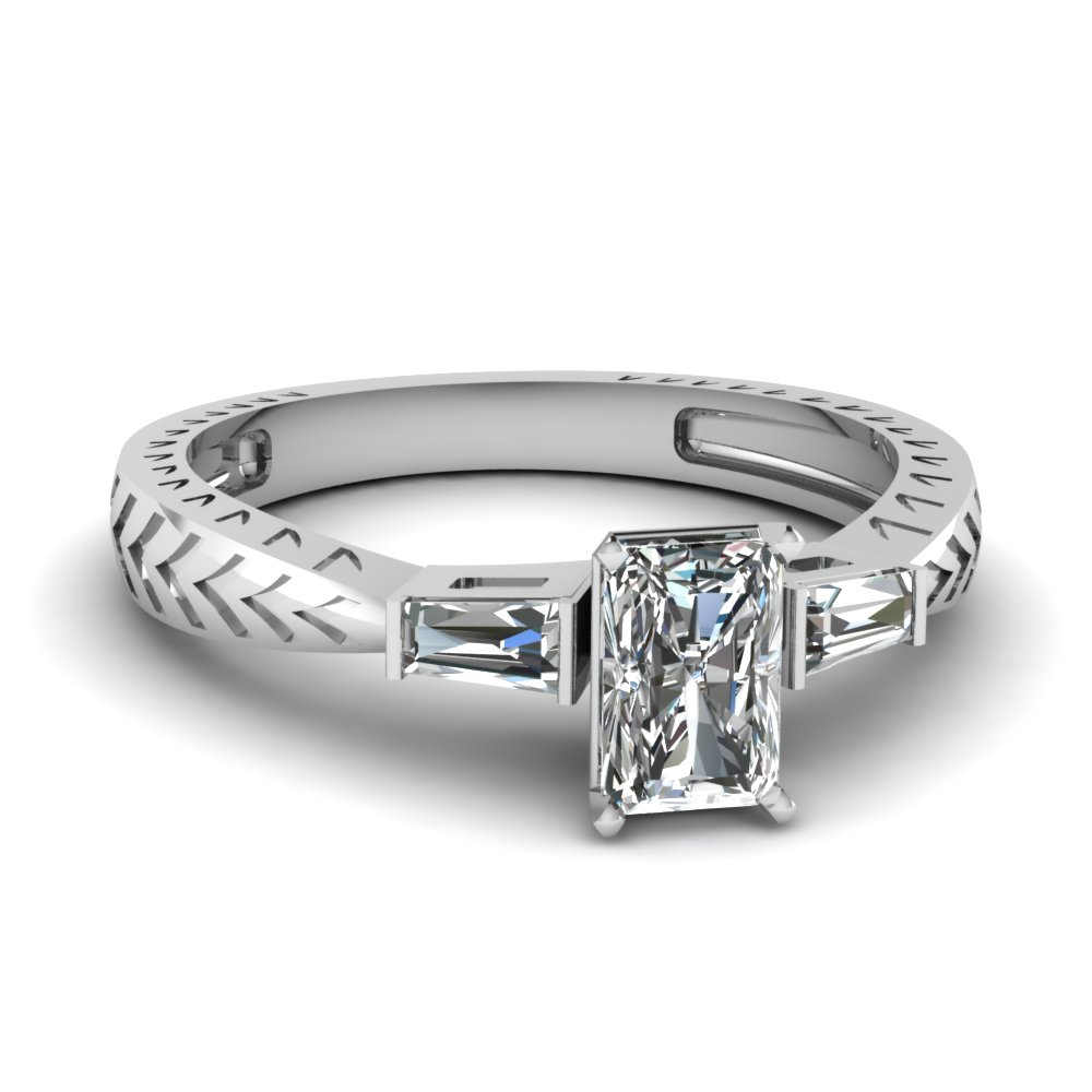 0.50 ct. radiant diamond baguette 3 stone engagement ring in FDENR1202RAR NL WG.jpg