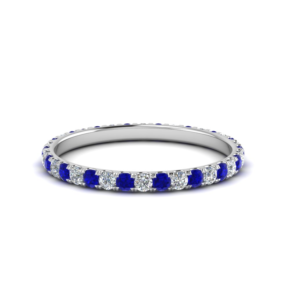 0.50 ct. round diamond eternity anniversary band with sapphire in FDEWB8371 0.50CTBGSABL NL WG