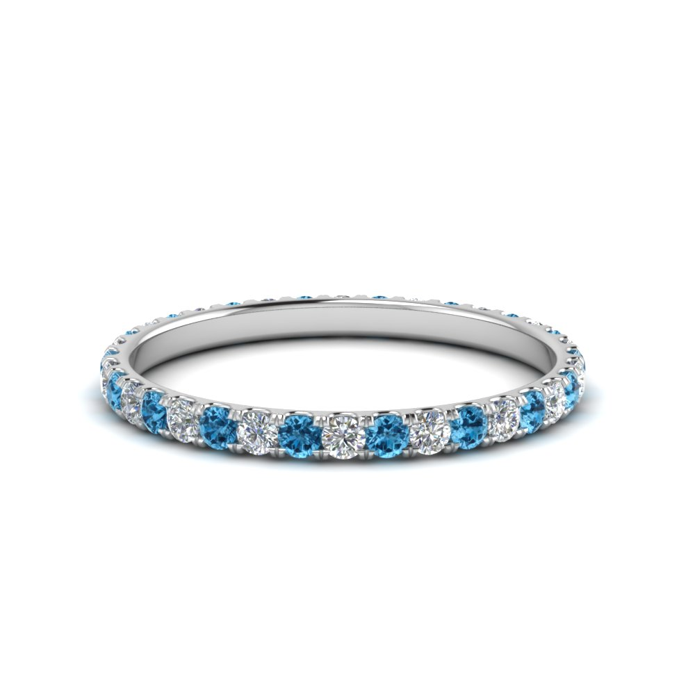 0.50 ct. round diamond eternity anniversary band with blue topaz in FDEWB8371 0.50CTBGICBLTO NL WG