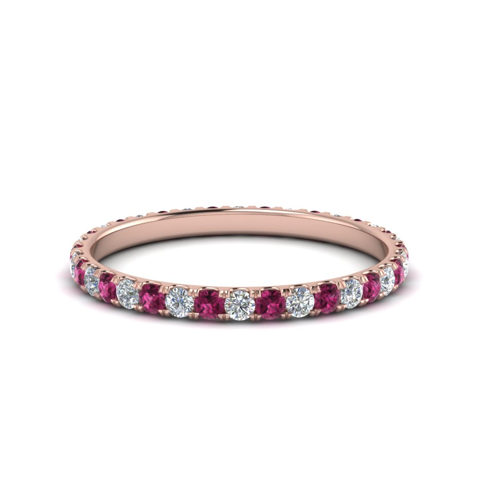 0.50 ct. round diamond eternity anniversary band with pink sapphire in FDEWB8371 0.50CTBGSADRPI NL RG