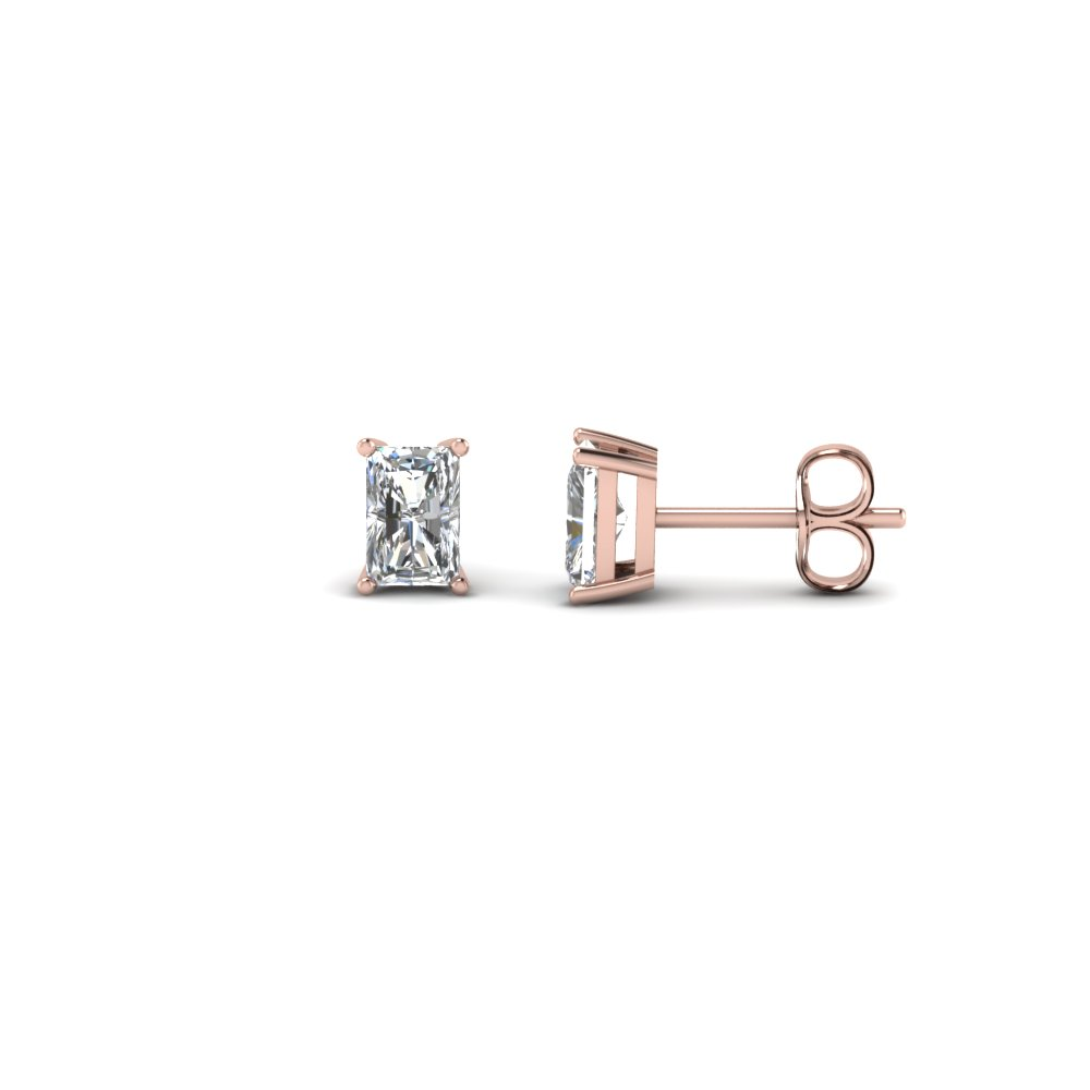 0.50 karat radiant diamond stud earring in FDEAR4RA0.25CT NL RG