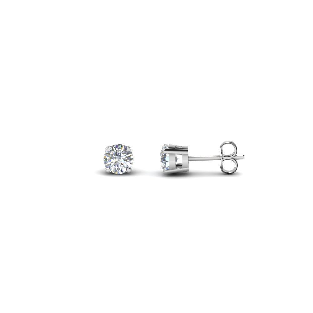 0.60 Carat Round Cut Diamond Stud Earring In 950 Platinum