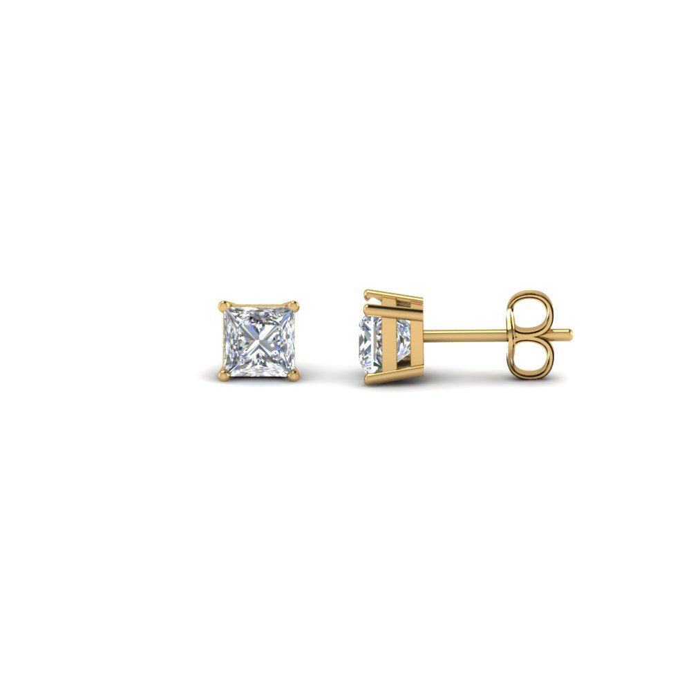 0.60 Ct. Princess Cut Stud Earring In 18K Yellow Gold