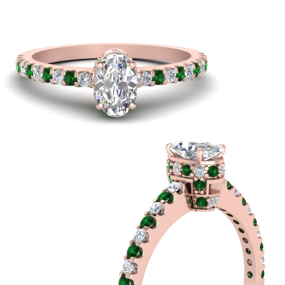 0 75 Carat Diamond Crown Thin Engagement Ring With Emerald In 14k Rose Gold Fascinating Diamonds