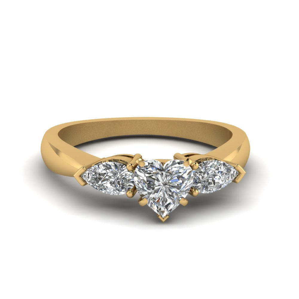 0.75 Carat Diamond Heart Sahped 3 Stone Ring