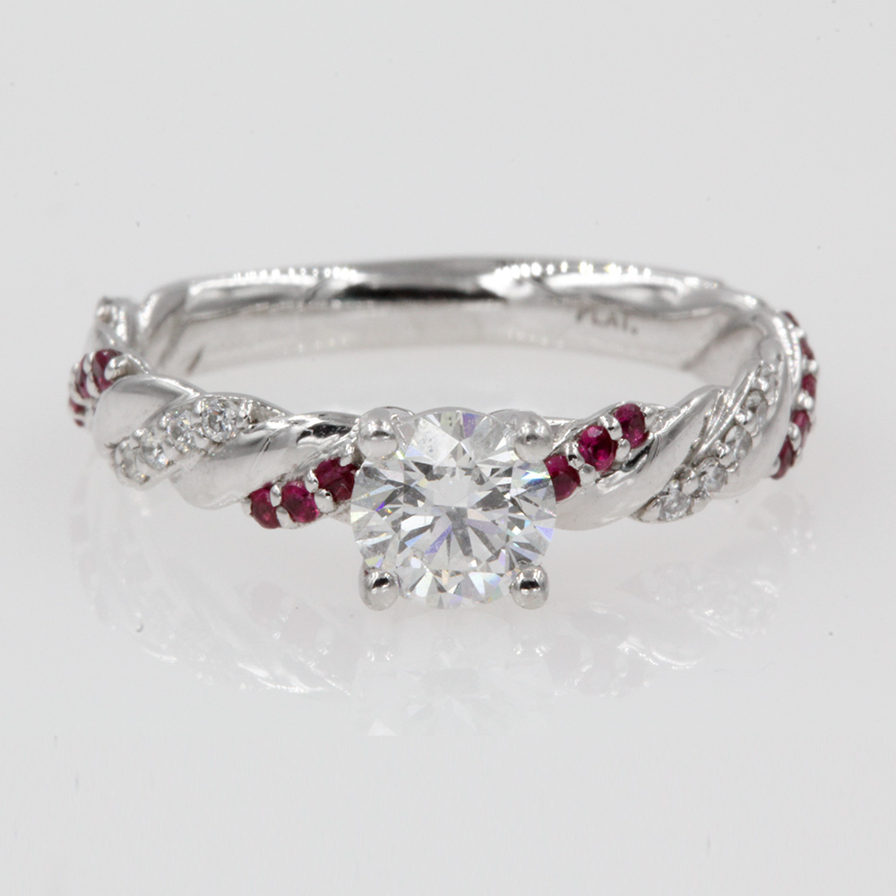 0.75 carat diamond rope engagement ring with ruby in FD9127RORGRUDR