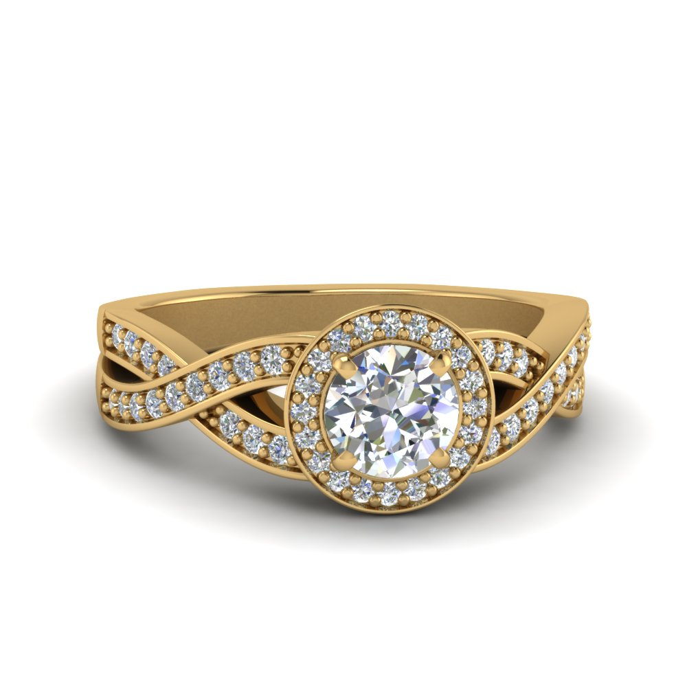 0.75 carat diamond split shank halo engagement ring in 14K yellow gold FDENS3189ROR NL YG