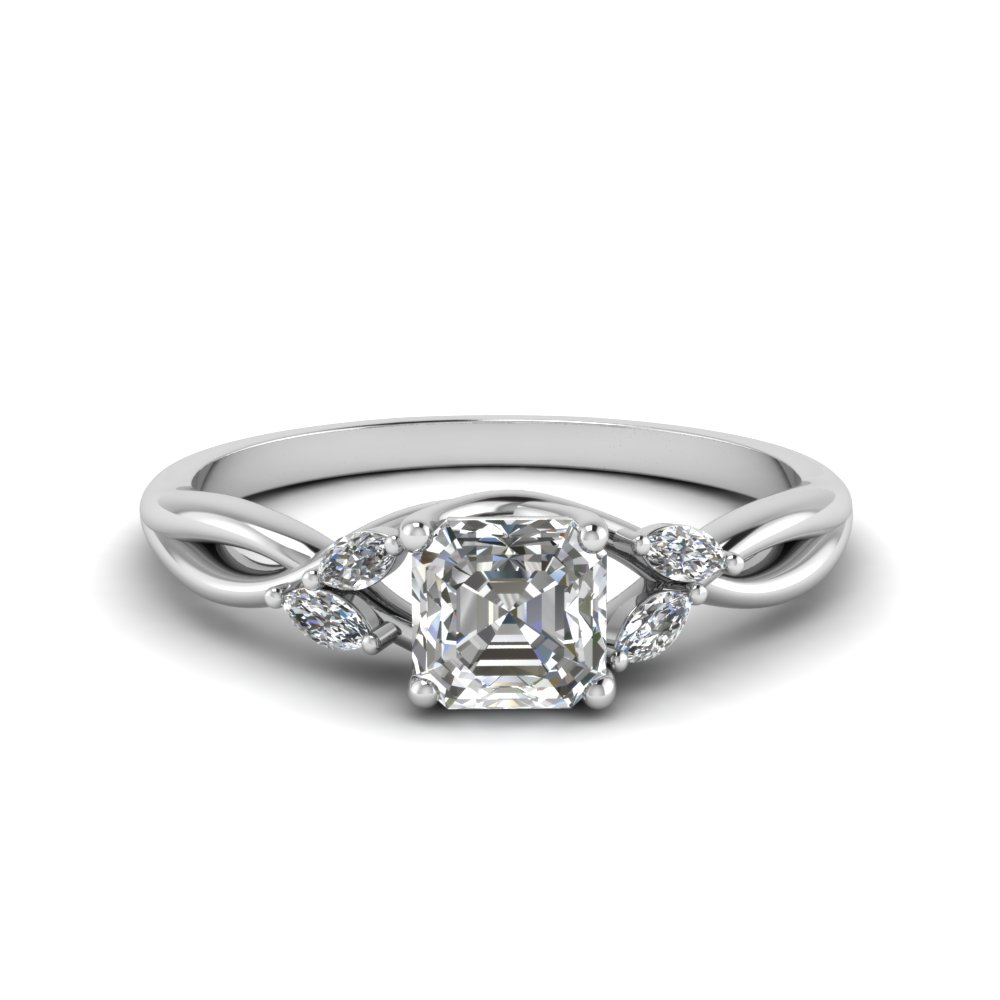 0.75 carat diamond twisted asscher cut engagement ring in FD8300ASR NL WG