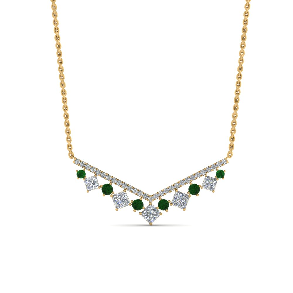 0.75 carat diamond v necklace with emerald in FDPD8954GEMGRANGLE1 NL YG