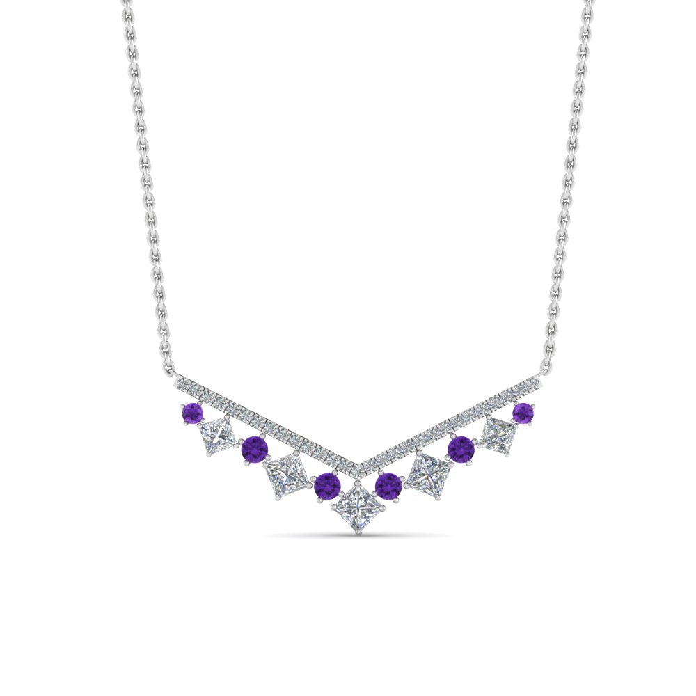 Purple Topaz V Necklace