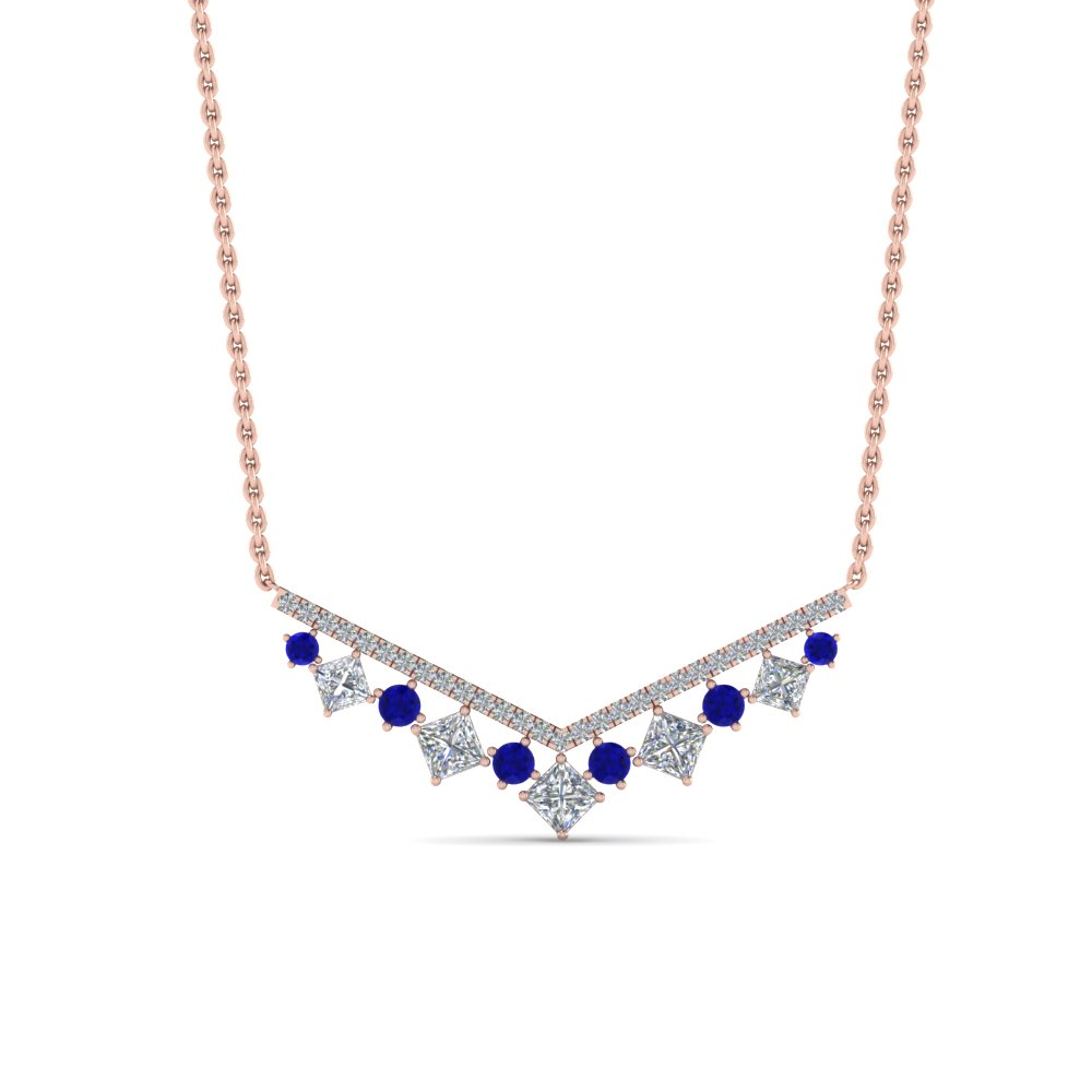 V Shaped Diamond  Necklace With Sapphire