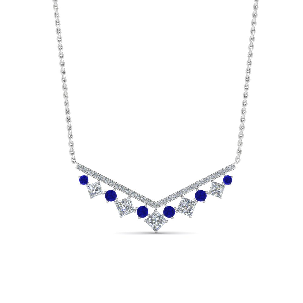 Sapphire Kite Style Necklace