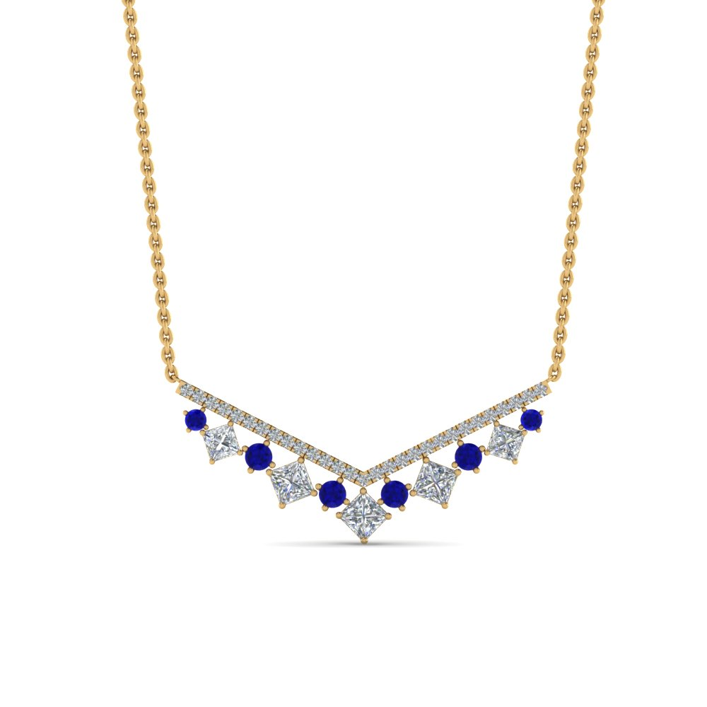 0.75 carat diamond v necklace with sapphire in FDPD8954GSABLANGLE1 NL YG