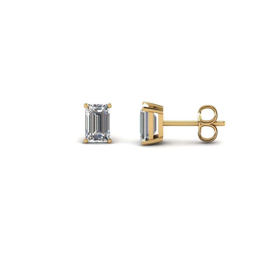 0.75 carat emerald cut diamond earring in FDEAR4EM0.37CT NL YG