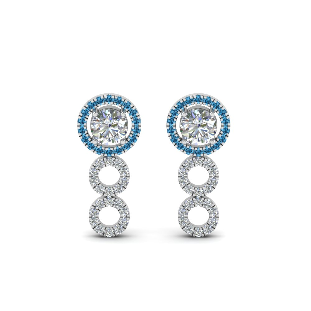 Blue Topaz Halo Diamond Drop Earring