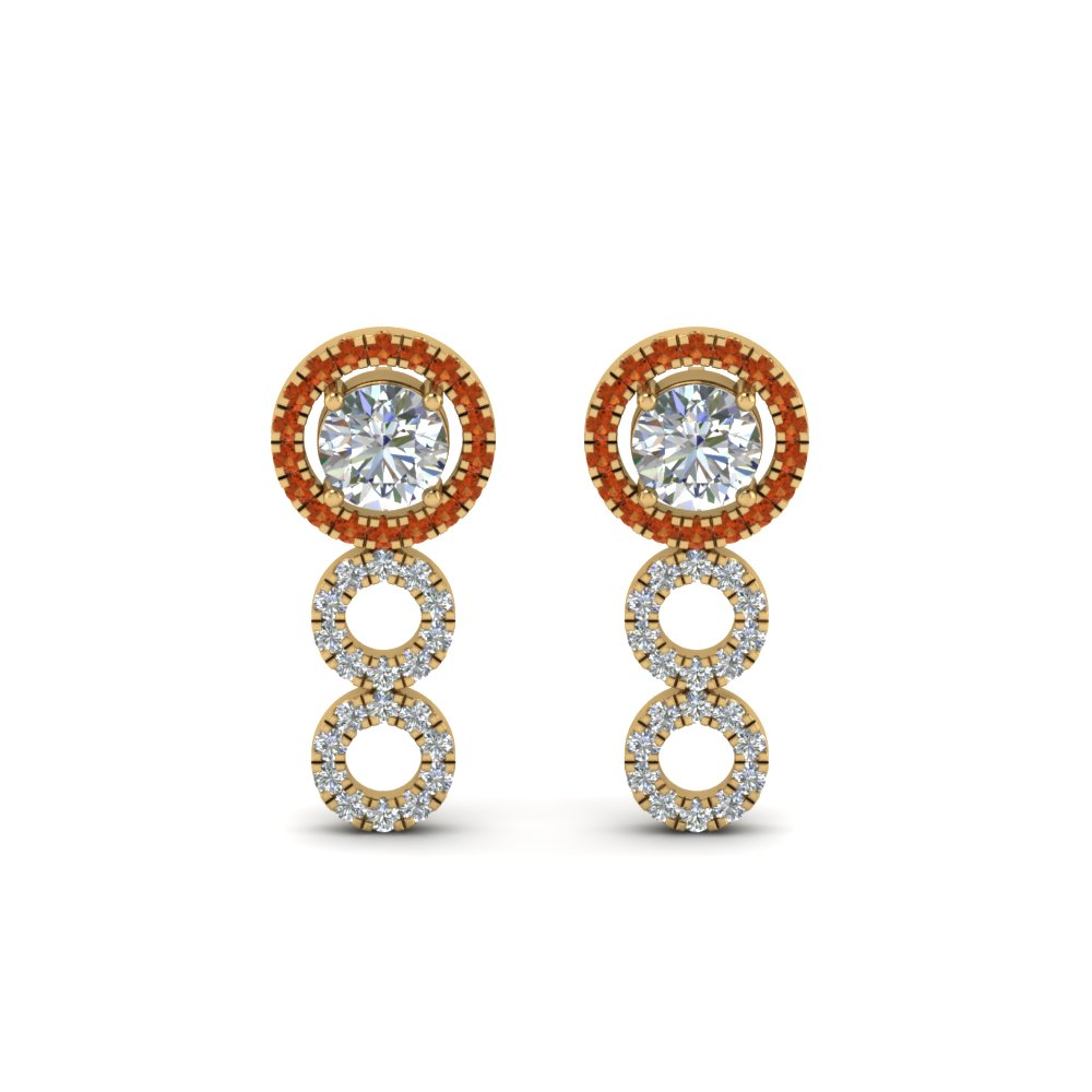 Halo Orange Sapphire Drop Earring