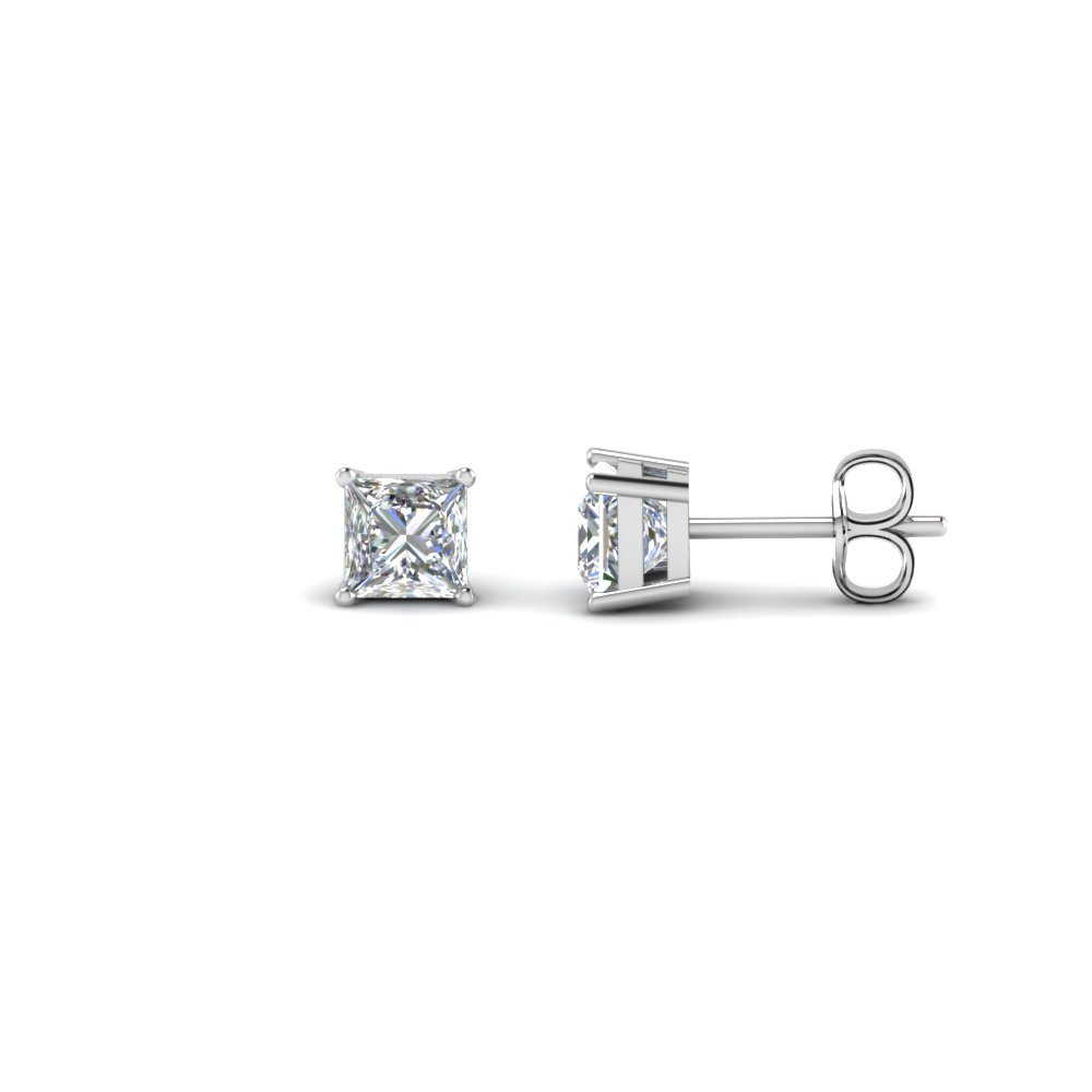 0.75 carat princess cut diamond earring in FDEAR4PR0.37CT NL WG