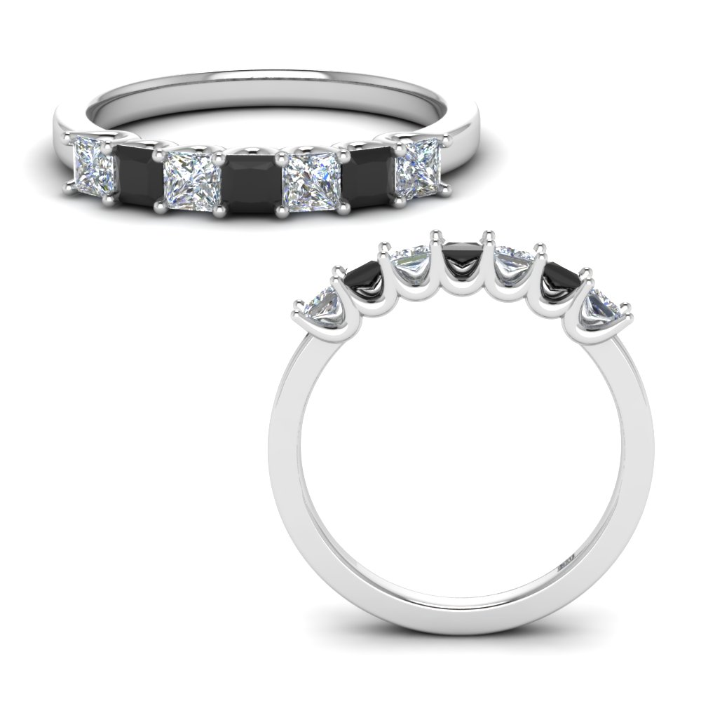 0.75-carat-princess-cut-simple-7-stone-anniversary-ring-with-black-diamond-in-FD123658PR(2.50MM)GBLACKANGLE3-NL-WG
