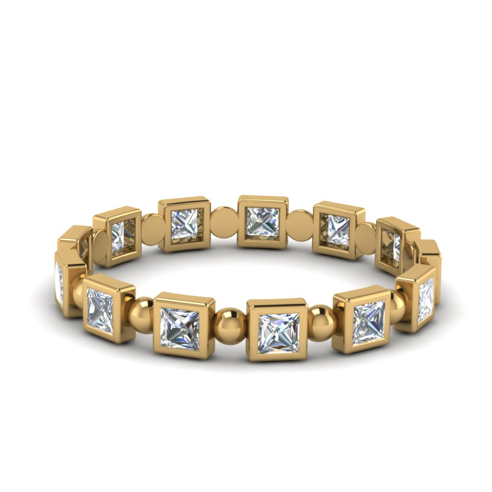 Princess Cut Bezel Bead Wedding Band