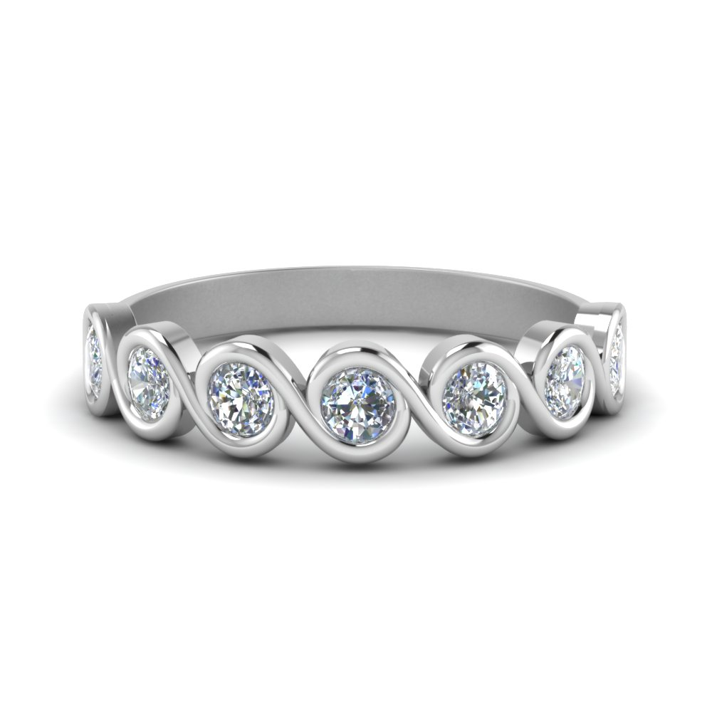 0.75 Carat Bezel Set Swirl Band