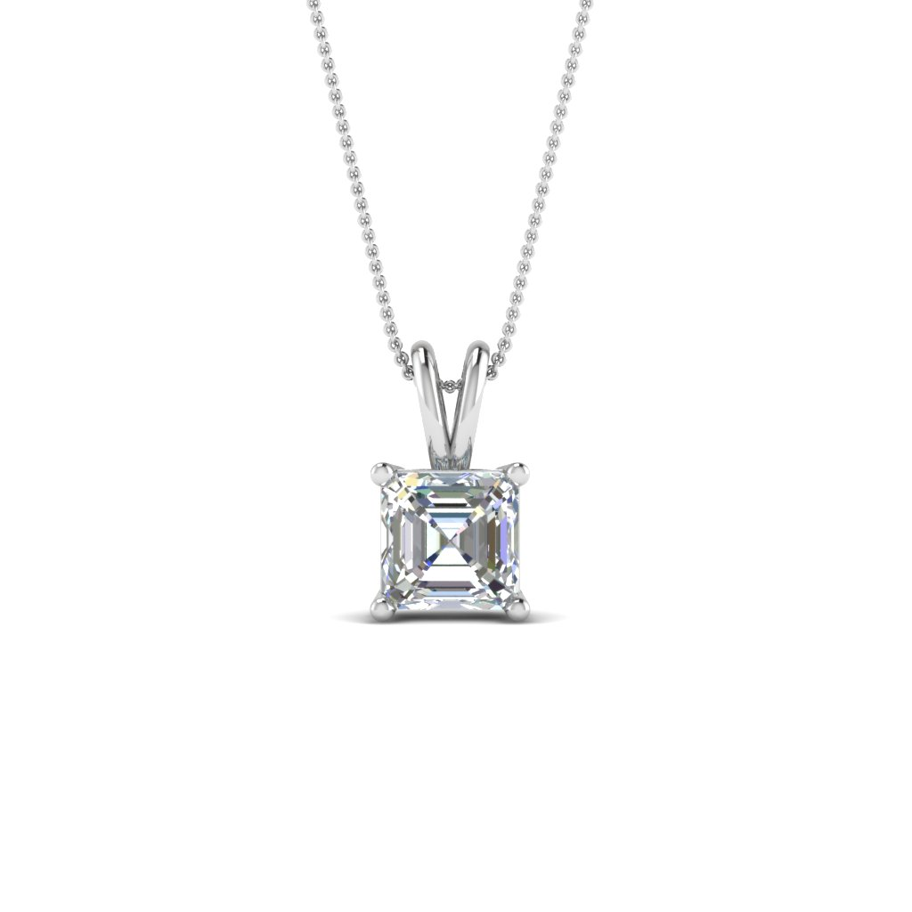 0.75 ct. asscher diamond pendant in FDPD8469AS 0.75CTANGLE2 NL WG