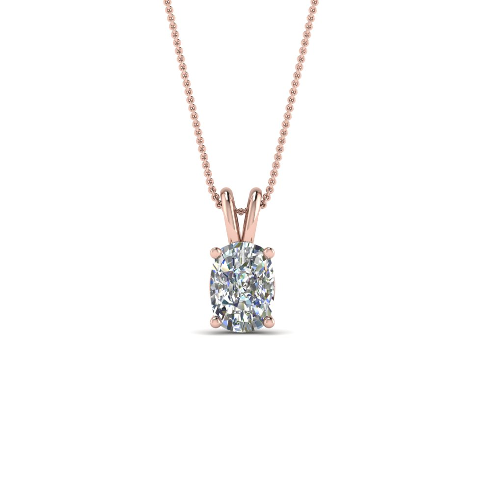 18K Rose Gold 3/4 Ct. Cushion Solitaire Pendant