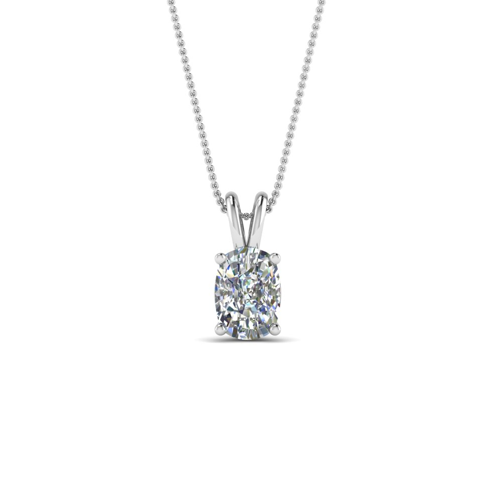 3/4 Ct. Cushion Diamond Pendant 18K White Gold