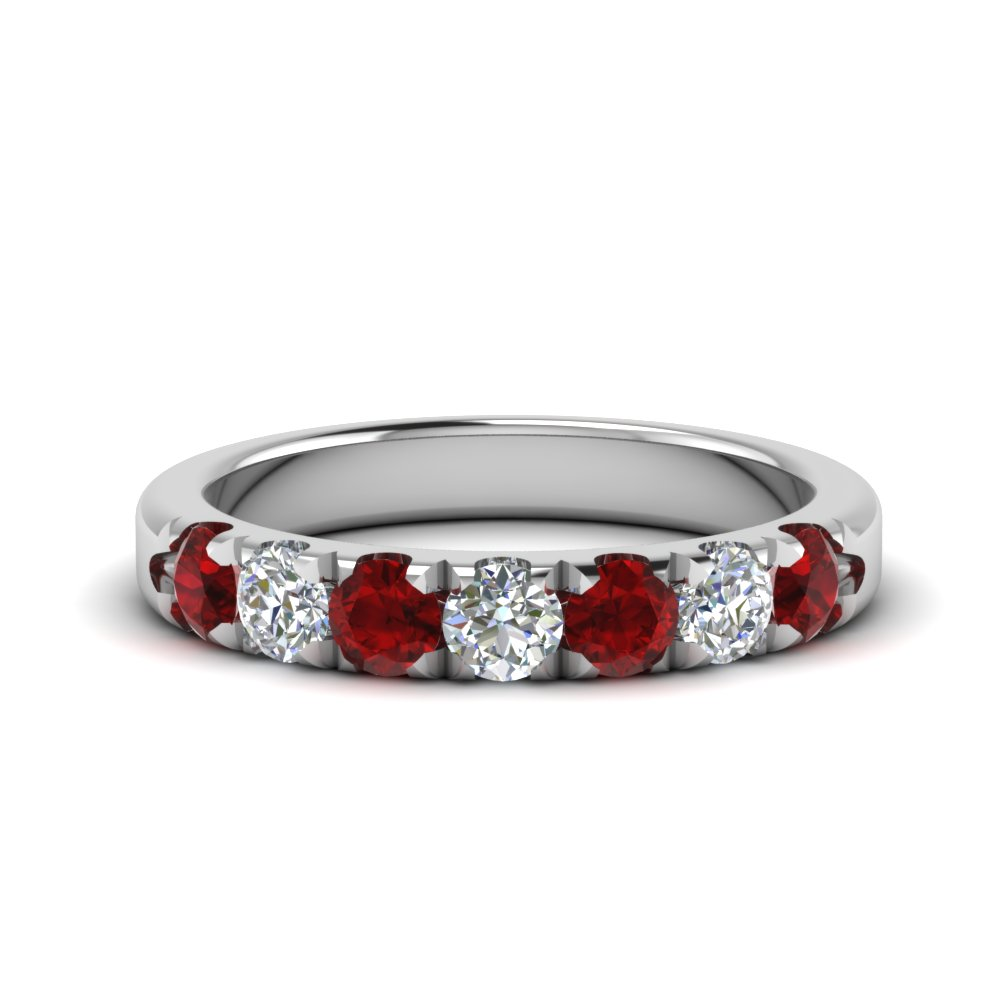 0.75-ct.-diamond-7-stone-anniversary-ring-with-ruby-in-FD123881RO(3.00MM)GRUDR-NL-WG