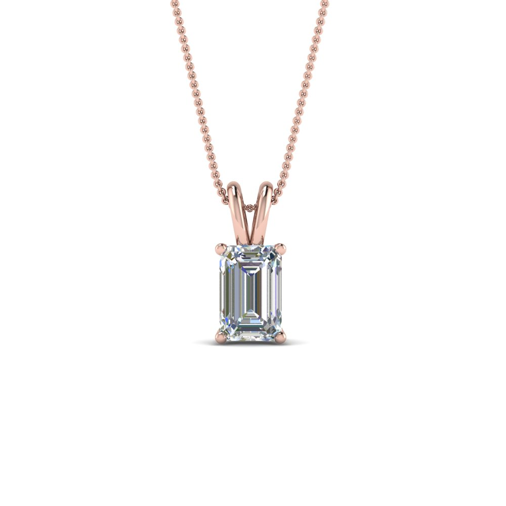 0.75 ct. emerald cut diamond pendant in 14K rose gold FDPD8469EM 0.75CTANGLE2 NL RG