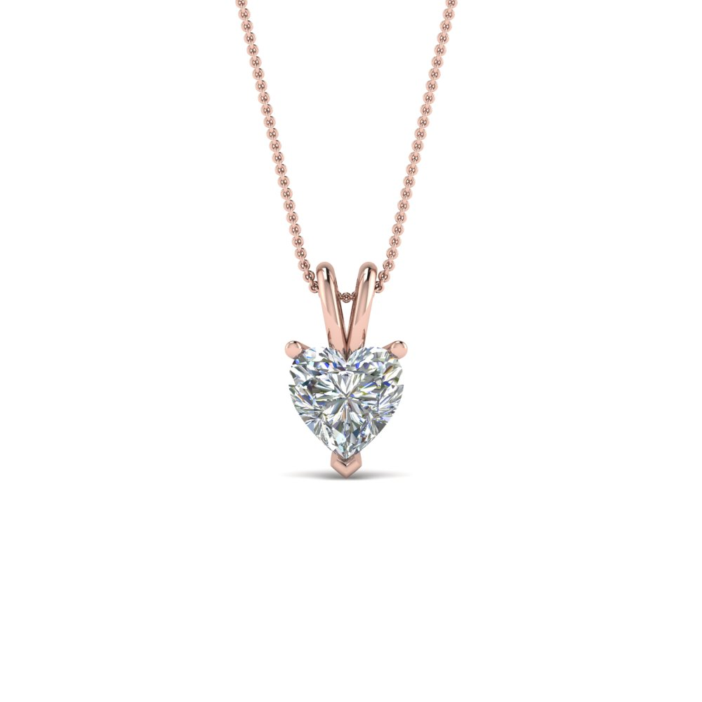0.75 ct. heart diamond pendant in 14K rose gold FDPD8469HT 0.75CTANGLE2 NL RG