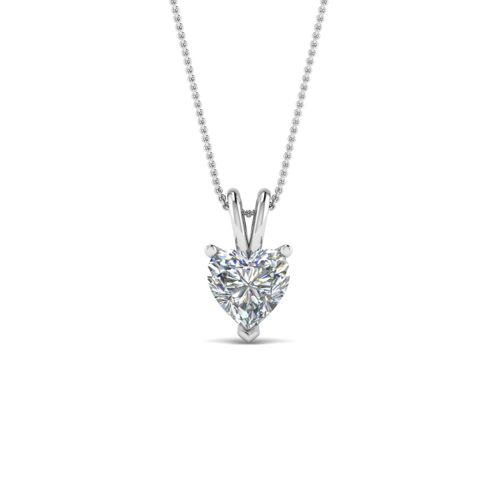 Platinum 0.75 Ct. Heart Diamond Necklace