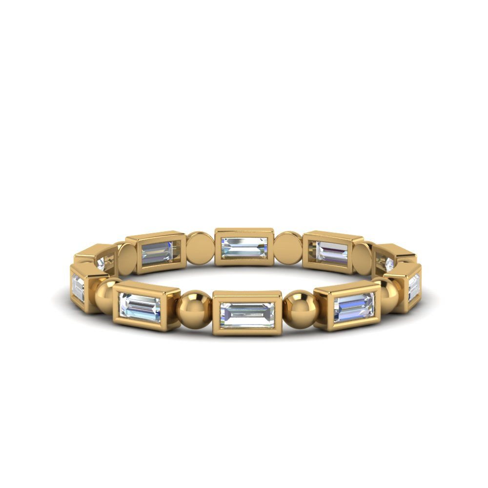 Baguette Gold Beads Eternity Band