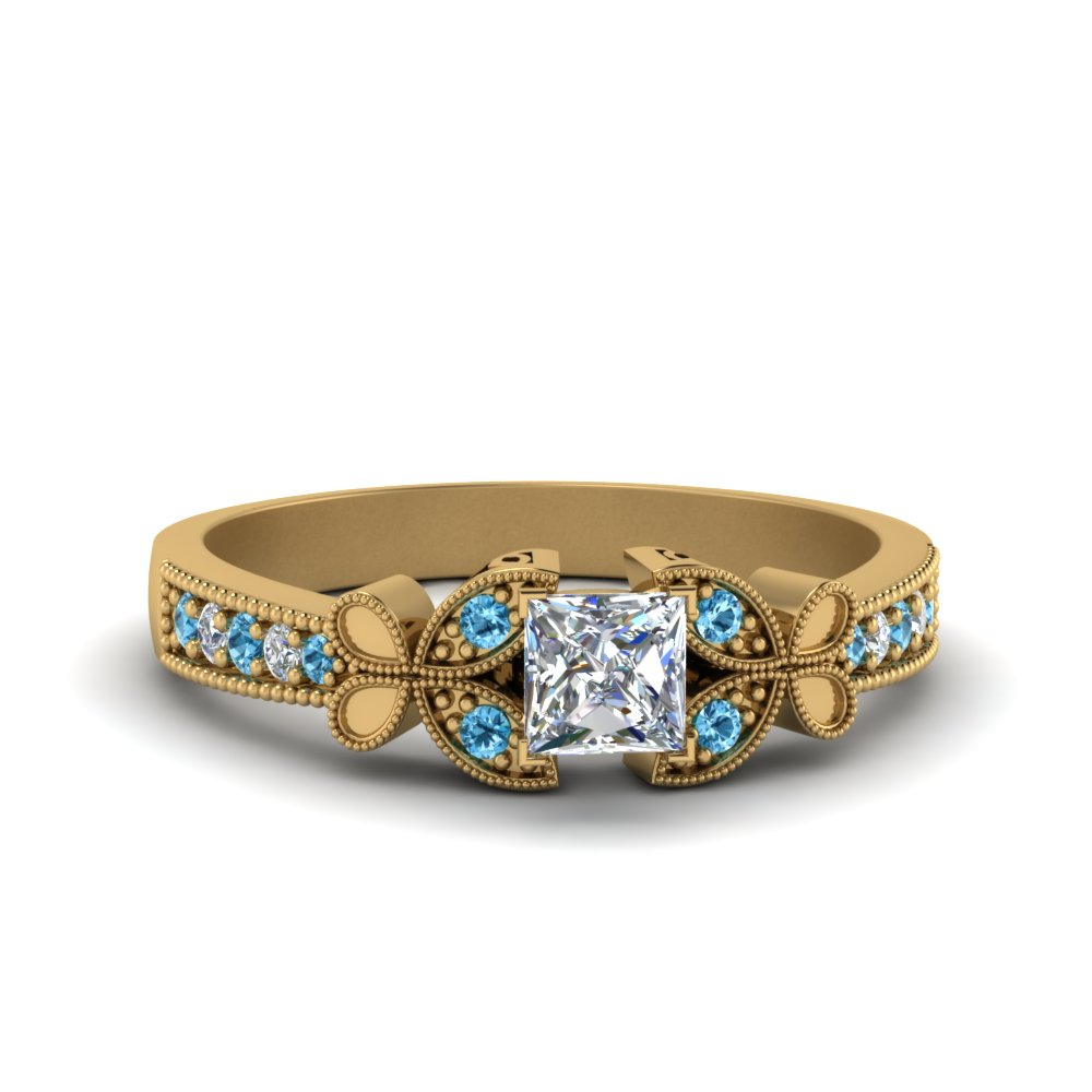Butterfly Milgrain Blue Topaz Ring