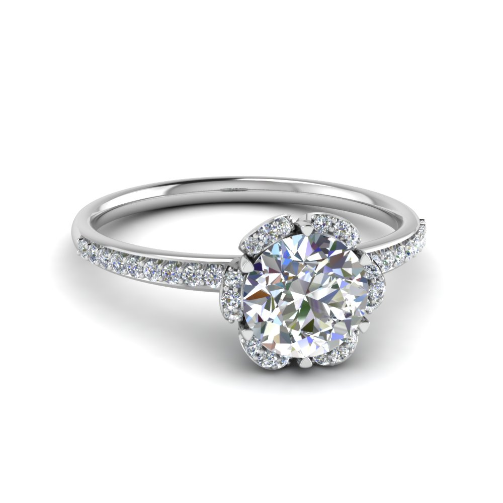 Diamond Halo Petal Engagement Ring