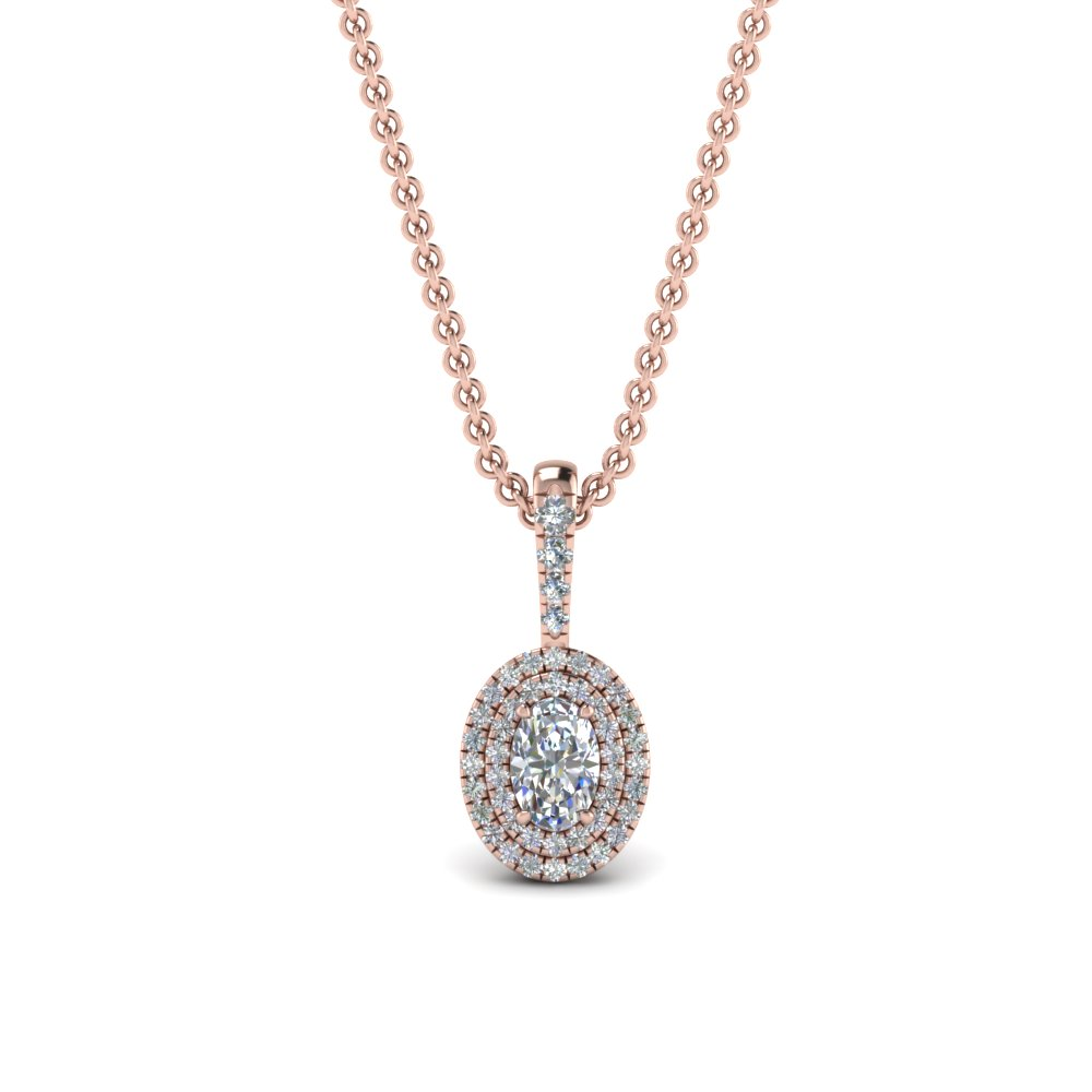 0.75 ct. oval diamond halo pendant necklace in 14K rose gold FDPD86826OV(6.0X4.0MM)ANGLE1 NL RG