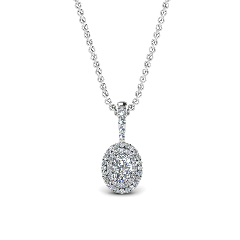 Oval Diamond Halo Pendant Necklace