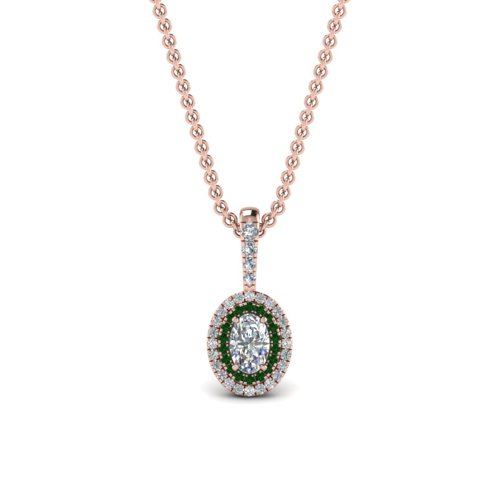 0.75 ct. oval diamond halo pendant necklace with emerald in 14K rose gold FDPD86826OV(6.0X4.0MM)GEMGRANGLE1 NL RG