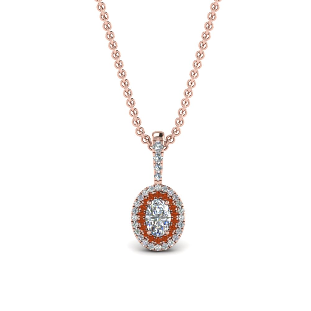 0.75 Ct. Oval Shaped Halo Pendant
