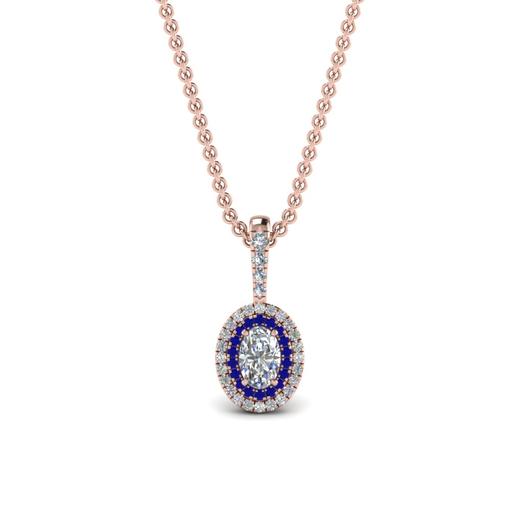 Oval Sapphire Halo Pendant Necklace